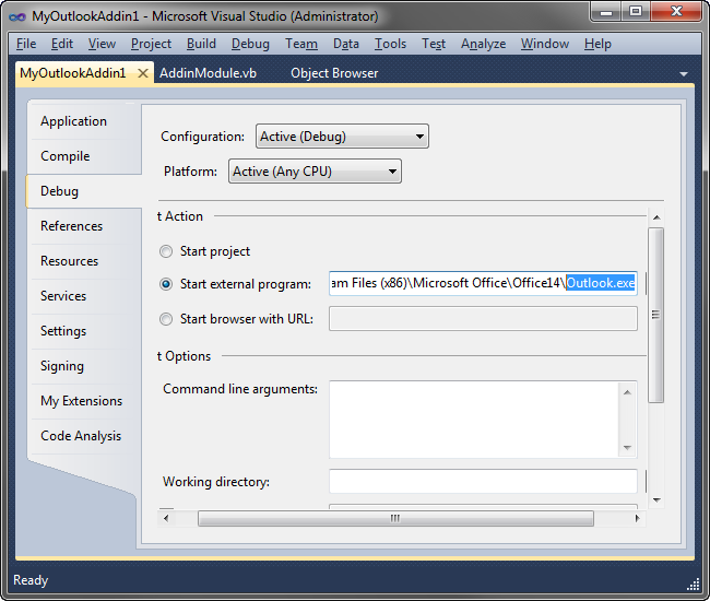 Debugging Outlook add-in