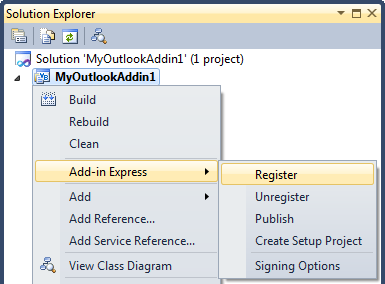Registering Add-in Express Project