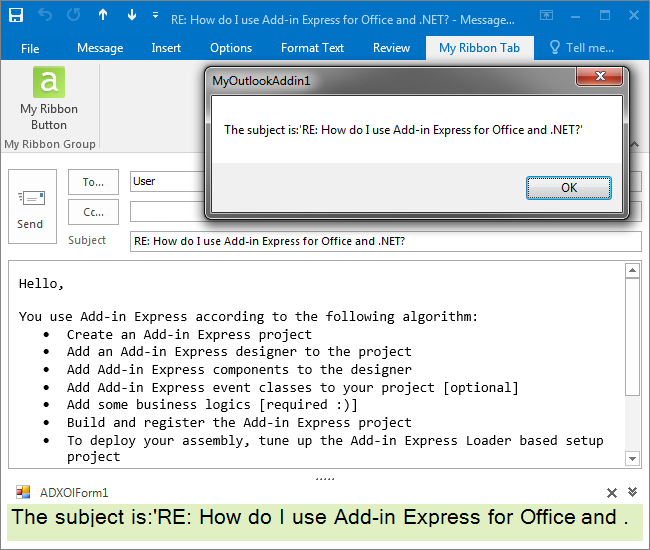 The add-in is run in the Outlook Inspector window
