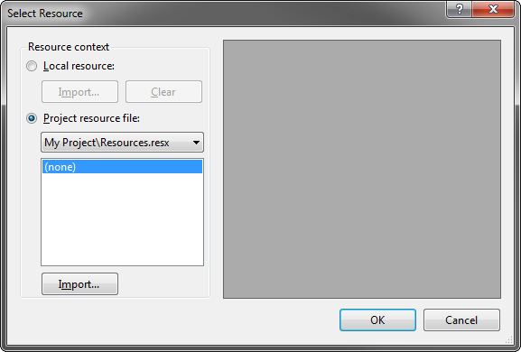 The Select Resource dialog box