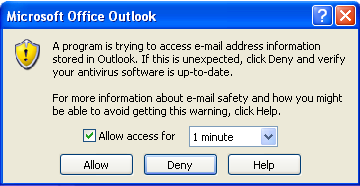 Avoid 'A program is trying to access e-mail address