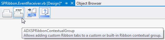 Adding an ADXSPRibbonContextualGroup component onto the designer surface