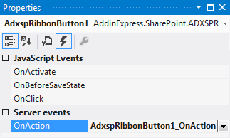 Add an event handler to the OnAction event of the button.