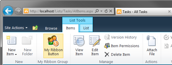 Adding a custom group to a built-in tab