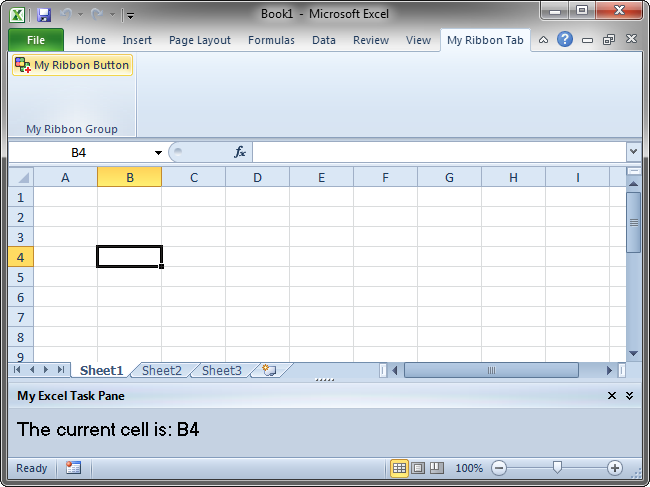 The add-in's UI in Excel 2010