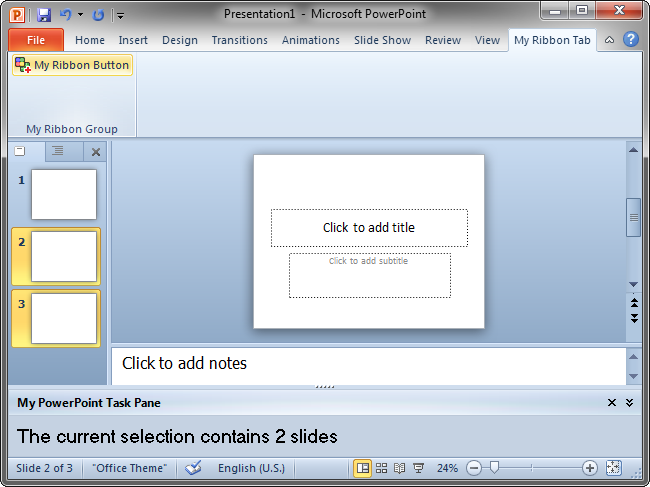 The add-in's UI in PowerPoint 2010