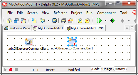 Adding a new Outlook Inspector commandbar component
