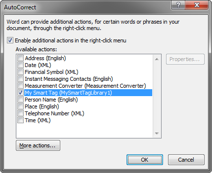Autocorrect options dialog