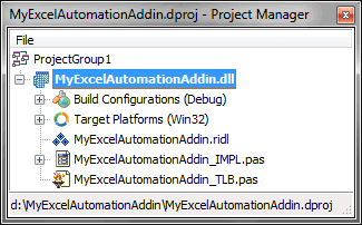 Excel Automation project in the Project Manager window
