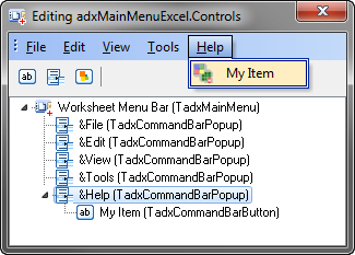 Customizing the Excel main menu at design-time