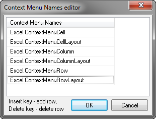 Specifying the names of the context menus