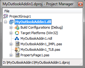 The structure of the Outlook add-in project