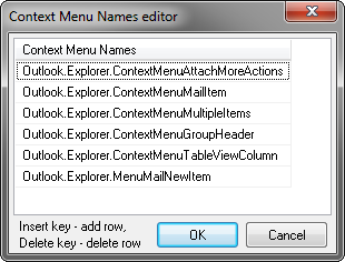 Specifying the context menu names