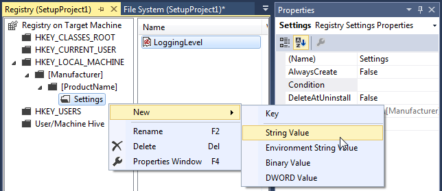 Creating a new registry value