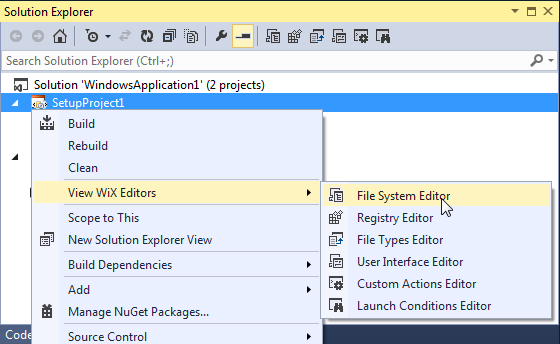 Open the File System Editor to specify the target folder for your setup package.