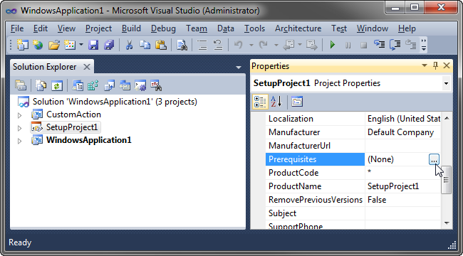 In the project's properties, click the Prerequisites button.