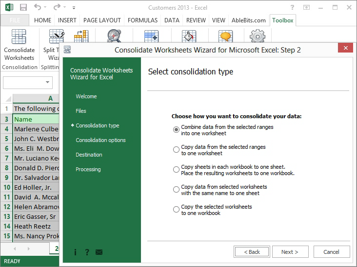 Consolidate Worksheets Wizard for Microsoft Excel